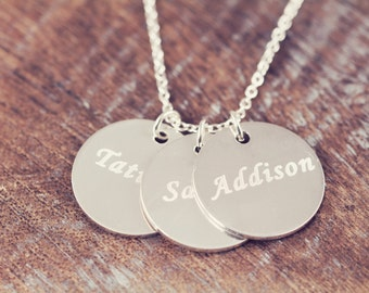 Engraved Name Necklace for Mom , Mothers Day Gift , Mommy Jewelry , Mother's Pendant Necklace , 925 Sterling Silver