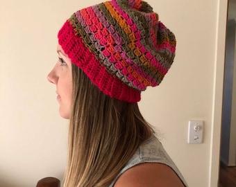 Multi-colour Pink/Orange/Brown Wool Crochet Beanie