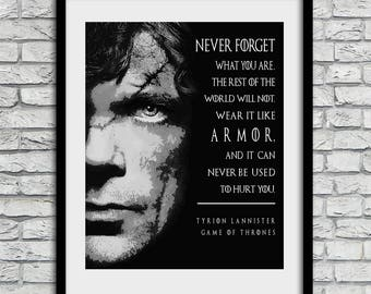 Game of thrones, Tyrion Lannister, Game of thrones poster, game of thrones gift,  tyrion, tyrion wall art,  Tyrion Lannister quote, poster