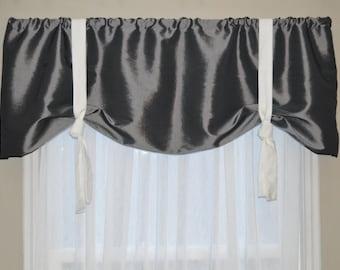 Window Treatment, Tie Up Valance, Window Valance, Gray and white valance, Modern Valance, Gray Valance, Nursery Valance,