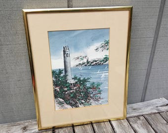 San Francisco original painting // Coit Tower and Alcatraz // paint and ink // Frank Dong 1991 // painting 5 x 7 inches, framed 8 x 10