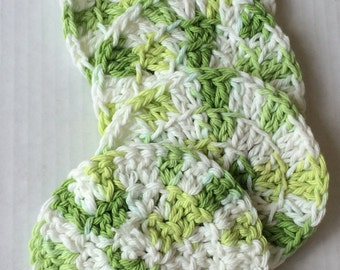 Lemon Lime Green Tones Eco Friendly Cotton Crochet Coasters Set of 4, home decor, table decorations