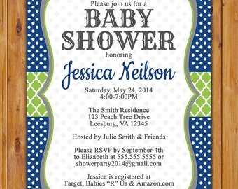 Navy Blue Green Boy Baby Shower Invite Polka Dots Trellis Pattern Boy Shower Invitation Printable 5x7 Digital JPG (357)