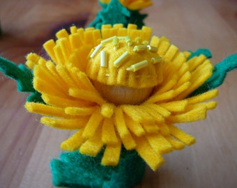 Yellow Peg Doll Flower Fairy, Small Dandelion Flower Fairy, Waldorf Inspired, Wool Felt Peg Doll Fairy, One of a Kind