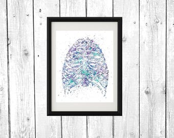 Rib Cage Watercolor Printable Poster, Wall Art Print