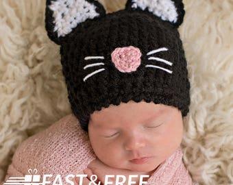 Newborn Girl Crochet Handmade in the USA Black Cat Baby Hat - Black Crochet Yarn- Baby Girl Photography Prop- Handmade - Baby Girl Hat