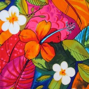 Fabric, Bebel in Multi Brights, Tropical Hibiscus Hawaiian Fabric, Alexander Henry, By The Yard