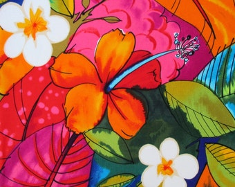 Fabric, Bebel in Multi Brights, Tropical Hibiscus Hawaiian Fabric, Alexander Henry, By The Yard