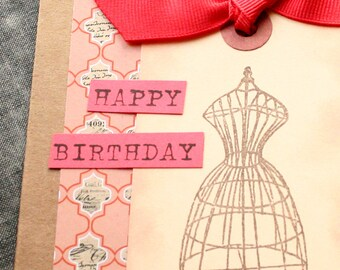 Birthday Card - Dress Form Seamstress Tailor Sew