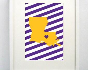 Baton Rouge, Louisiana State Giclée Print- 8x10 -  Graduation Gift Idea - Dorm Decor