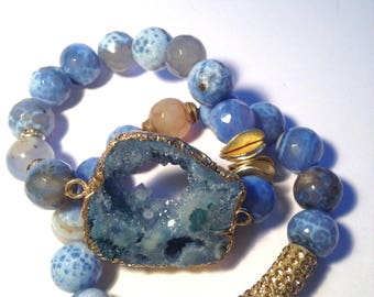 Blue Druzy Rock Agate Set with Gold Wavy Spacers and Long Gold Pave Bar