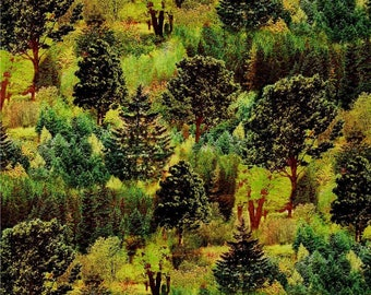 "New Fabri-quilt Mountain View - Digital Beautiful Forest Trees Woods 100% cotton fabric by the yard 36""x44"" (FQ155)"
