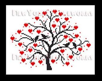 Birds in Heart Tree Cross Stitch, Cross Stitch, Birds in Tree Silhouette, Crochet Birds, Birds Silhouettes from NewYorkNeedleworks on Etsy