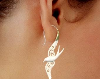 Fake Gauge, Dove Bone & Brass Tribal Earrings, Hand Carved Organic, Fake Gauge Earrings, SS3