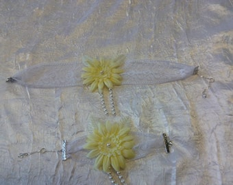 Yellow Daisy flower Ribbon set