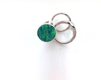 Modern Circular Green Opal Statement Ring