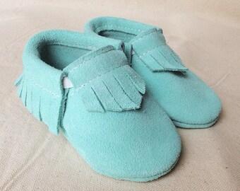 Robin's Egg Blue Leather Baby Toddler Moccasins Moccs