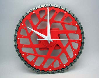 Orange & White Bicycle Gear Clock with Chain