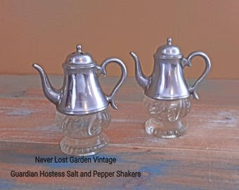 Guardian Hostess Salt and Pepper Shakers Glass and Aluminum Vintage