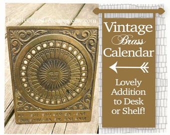 REDUCED Brass Perpetual Sundial Calendar- Antique Peg Calendar- Vintage Desk Calendar- Brass Desk Accessory- Office Decor- Mayan Calendar