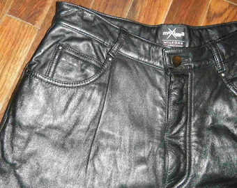 Sing it, I Love Rock and Roll Black 80's Leather Pants vintage 1980's Wilson's Maxima