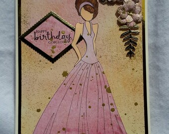 Elegant Female Birthday Card, Fancy 3D Birthday Card, Fancy Julie Nutting Card, Prima Paper Doll Card