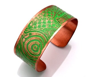 Copper Cuff Etched Bracelet with Jade Patina
