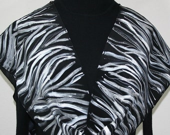 Hand Painted Silk Scarf Black White BLACK ZEBRA, by Silk Scarves Colorado.  Select Your SIZE! Birthday, Anniversary Gift, Christmas Gift,
