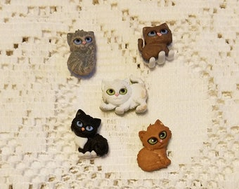 Set of five cats refrigerator magnets