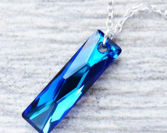 Bermuda Blue Crystal Necklace, Swarovski Rectangle Pendant, Sterling Silver, Column Pendant, Prism Necklace, Gift for Her, Beach Jewelry
