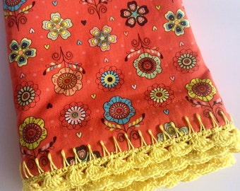 Pillowcase with Crocheted Edging Orange Playful Floral, Granny Chic, Shabby Chic, Cottage Chic