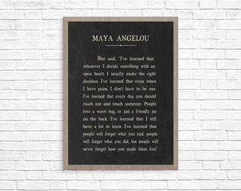 Maya Angelou I've Learned Art Print Poster, Maya Angelou Quote, Maya Angelou Art Print, Inspirational Art