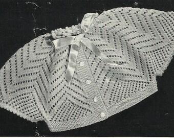 """PDF Patons Knitting Pattern, 4Ply, Sz 18"""" Cinderella Cape Matinee Jacket Cardigan"""
