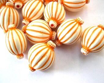 10 VINTAGE beads, lucite white with orange stripes decoration