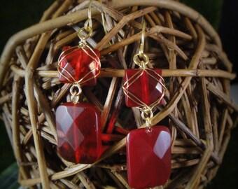 Oxblood Wire Wrapped Earrings