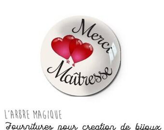 2 cabochons glue mistress love heart message glass 16 mm - N996