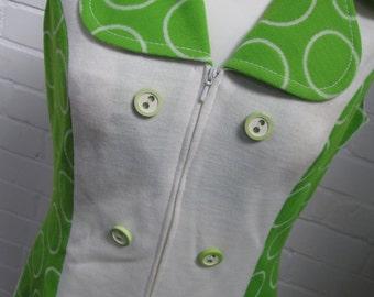 Vintage dress, Retro dress, 60's dress, handmade dress, green and white dress, vintage clothes, mini dress