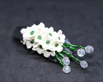 White Floral Hair Pin - Hair Jewelry - Flower Hair Pin - Wedding Hair Pin - Bridal Hair Pin - Crystal Hair Pin - White Flower Hair Pin