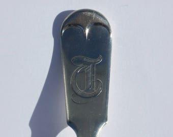 Spoon Keychain, Spoon Key Chain, Spoon Key Ring, Monogram T, Handmade Keychain, Vintage Key Chain, Vintage Spoon, Monogrammed Key Chain