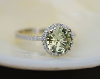 Green sapphire engagement ring. White Gold Engagement ring. Green Sapphire ring. 1.68ct round sapphire 14k White Gold diamond ring.