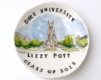 College graduation gift for her keepsake ring holder university ring dish handmade by Cathie Carlson