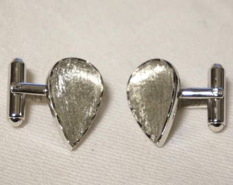 Vintage 50s Sterling Tear Drop Cufflinks Cuff Links Signed JML