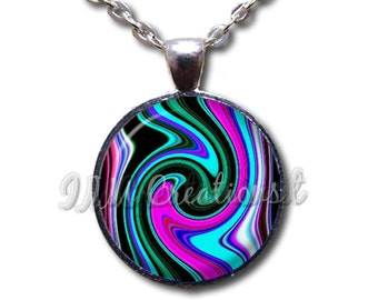 Pattern Trance - Round Glass Dome Pendant or with Necklace by IMCreations - PT108