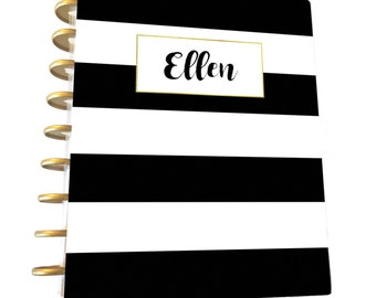 Personalized Planner Cover, Disc Bound Planner, Classic Planner Cover, Printable Planner Cover,Stripe Cover, Digital Download,Black White