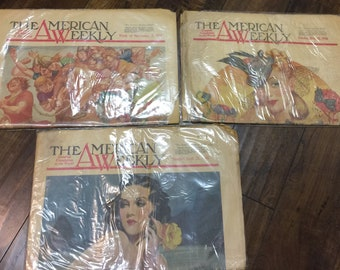 """3- Vintage """"The American Weekly"""" Newspapers from 1938, 1940, 1941."""