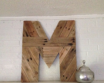 Giant Letter M Wood Wall Art