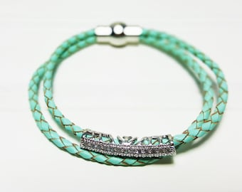 PAVE Braided Leather Bracelet | Girls bracelet | Double Loop Braided Leather Bracelet | Gift for her | Crystal bracelet | Magnet clasp