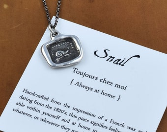 Snail Necklace 'Always at Home' Wax Seal Necklace  - Snail jewelry from an antique wax seal - 227