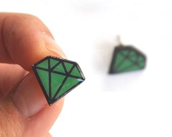 Large earrings vintage style green diamonds / pop / funky