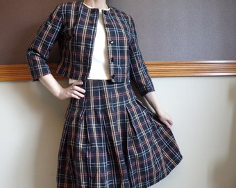 1960's PLAID SKIRT SUIT cropped jacket pleated 60's S